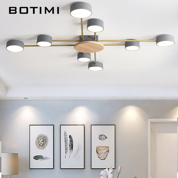 BOTIMI, luces LED de techo de diseñador nórdico con pantallas de lámpara redondas de Metal blancas, decoración artística gris, lámparas de dormitorio montadas en el techo