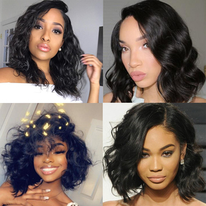 Image 4 - Pre Plucked 360 Lace Frontal Wig Body Wave Full Lace Wigs Short Bob Lace Front Human Hair Wigs Dolago Wavy Brazilian Virgin Hair