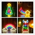 Светодиодный неоновый настенный светильник форма радуги неоновые вывески для художественной галереи бар для дома  спальни  Рождества  праз...