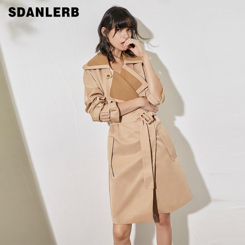 Fashion Temperament   Trench   Loose Large Lapel Stitching Elegant Belt Khaki Long Coat Windbreaker Woman Autumn Overcoat
