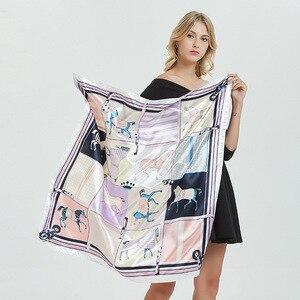 Luxury Brand 2020 New Designer Silk Square Scarf Women Satin Neck Hair Tie Band Summer Beach Hijab Head Female Foulard 90*90cm