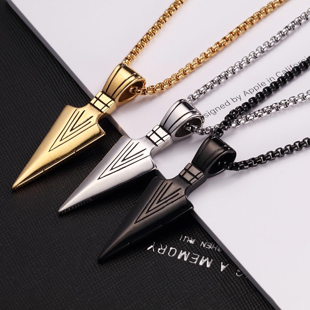 Men's Fashion Jewelry Gold Silver Black Arrow Head Pendant Long Chain Necklaces mens necklaces Collier Femme Arrow Head