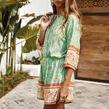2020 Summer Foral Printed Jumpsuit Women 3/4 Sleeve Retro Boho High Waist Vacation Beach Causal Rompers Spring Playsuit(China)