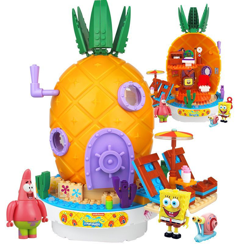 2019 New Music Pineapple Sponge Boby House Lepining Friends Building Block Bricks Education Toys For Children Birthday Gifts