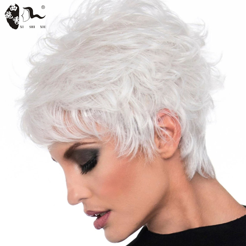 XISHIXIUHAIR Middle-aged Women Wig Silver White Ombre Synthetic Short Layered Curly Hair Puffy Bangs