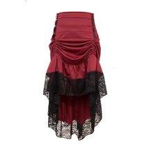 Женская юбка с оборками красная в стиле стимпанк готическая
