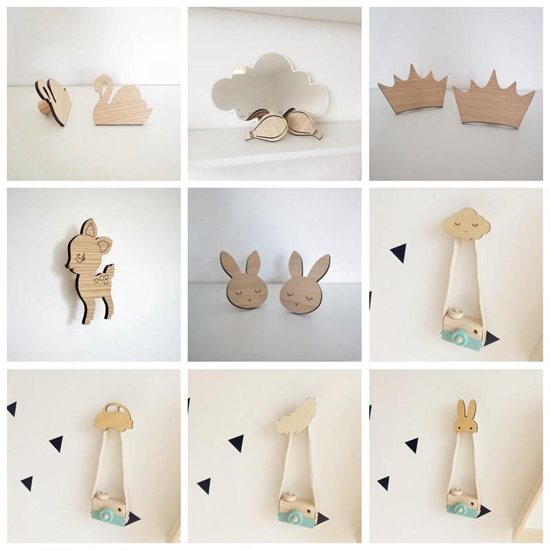 C Ins Original Wood Color Decorative Hook Animal Deer Swan Rabbit Car Cloud Wall Hooks Kids Room Wall Decoration Christmas Gift