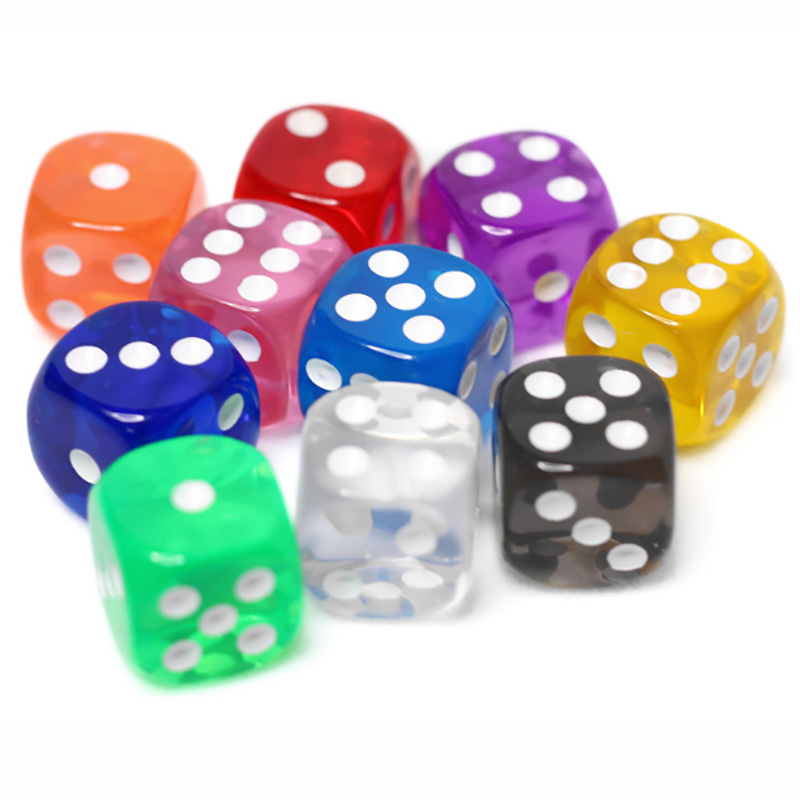 10PCS/Lot Filleted Corner Dice Set Colorful Transparent Acrylic 6 Sided Dice For Club/Party/Family Games