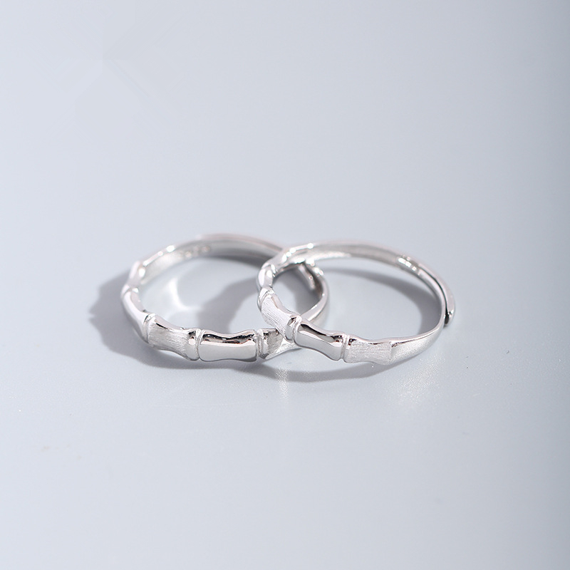 Leouerry S925 Sterling Silver Bamboo Couple Rings Original Loyalty Of Love Finger Rings For Lovers Gift Engagement Jewelry