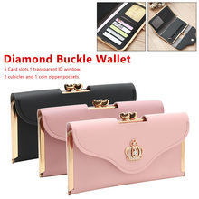цена на Hot Sale Women Clutch Long Wallet PU Leather Diamond Buckle Wallet Female Zipper Coin Purse High Quality Card Holder Purse