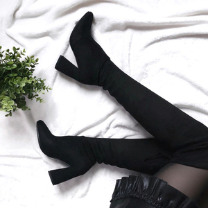 Image 2 - QUTAA 2020 New Flock Leather Women Over The Knee Boots Lace Up Sexy High Heels Autumn Woman Shoes Winter Women Boots Size 34 43
