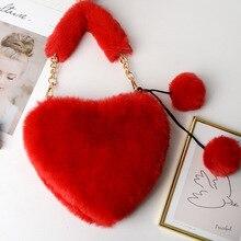 Faux Fur Purses and Handbags Women Autumn Winter Plush Heart Clutch Handbag Totes Girls Shoulder
