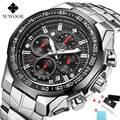 Роскошные мужские часы 2019, Топ бренд WWOOR, черные часы с хронографом + коробка, мужские золотые кварцевые наручные часы с большим циферблатом, ...