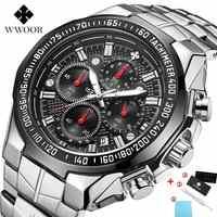 Reloj WWOOR para Hombre, reloj cronógrafo de Deportes de plata de marca superior de lujo para Hombre, reloj de pulsera de cuarzo con esfera grande a la moda para Hombre, Relojes para Hombre 2020
