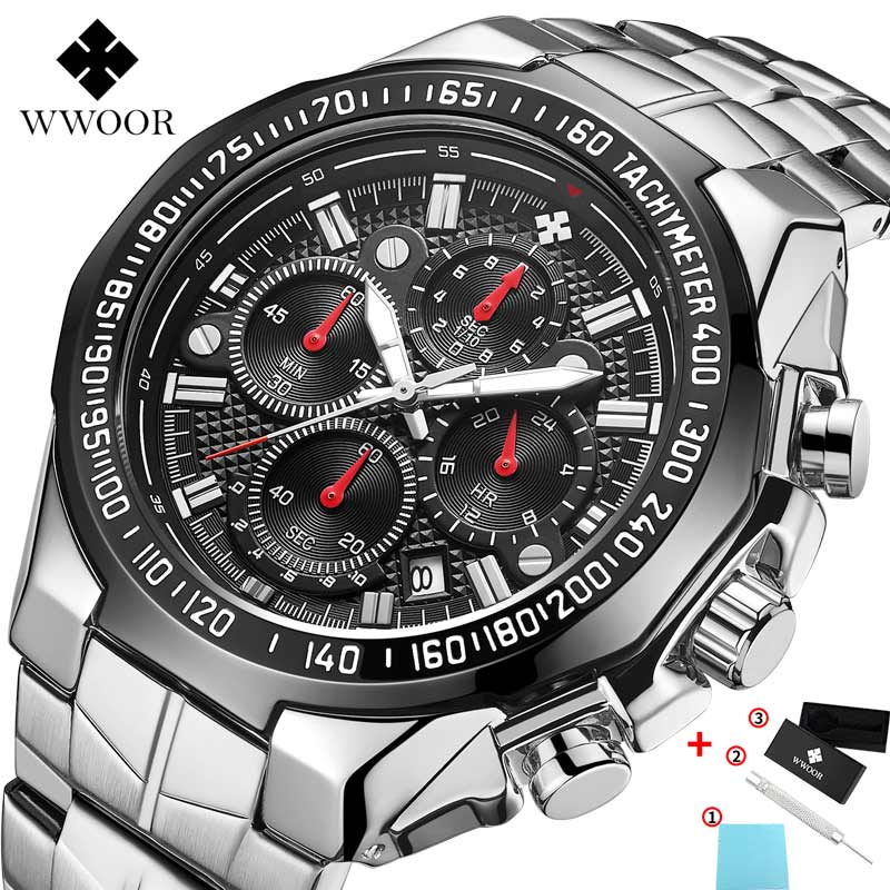 WWOOR Watch Men Luxury Top Brand Silver Sports Chronograph Clock Mens Fashion Big Dial Quartz Wristwatch Man Relojes Hombre 2020