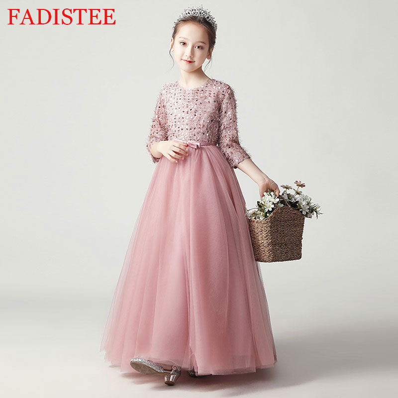 New Style O-neck Flower Girls Dress For Wedding First Holy communion Party Gown платье для девочки Birthday Party Dress