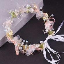 Женщины свадьба искусственный цветок жемчуг гирлянда венок повязка на голову и свадьба волосы венок волосы лента орнамент пляж накидка венок подарок