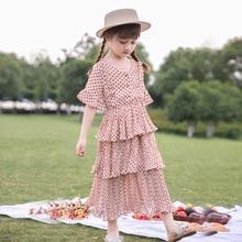 Summer Dress for Girls Beach Teen Chiffon Sundress Long Red Dot Cake Layered Tutu Costume 5 6 7 8 9 10 11 12 13 14 Year