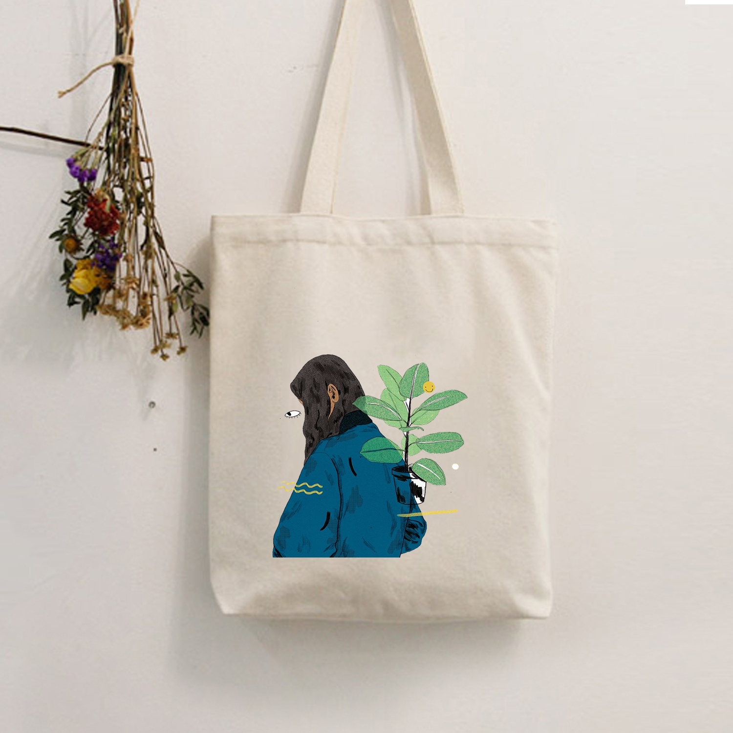 Cute Print Pattern Shopping Bag Without Lining Women Casual Cotton Canvas Shopping Shoulder Bags Tote Bags  Eco Reusable
