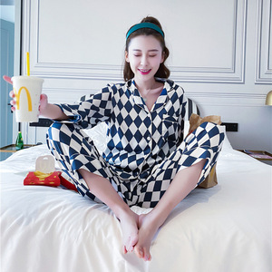 Image 2 - Lisacmvpnel Plaid Printing Long Sleeve Women Pajama Set Satin Soft Pajamas