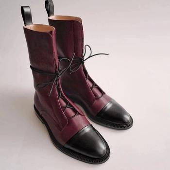 2020 buty damskie buty ocieplane kwadratowe obcasy niskie obcasy i łydki buty buty sznurowadła Casual długie zimowe modne damskie spiczaste buty tanie i dobre opinie FDLHO Płaskie z podstawowe CN (pochodzenie) Zima Połowy łydki Wiązane na krzyż Stałe Z niewielkim szpicem RUBBER Niska (1 cm-3 cm)