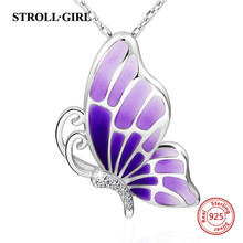 100% sterling silver 925 lovely butterfly chain pendant necklace with CZ&gradient purple enamel diy jewelry making for women