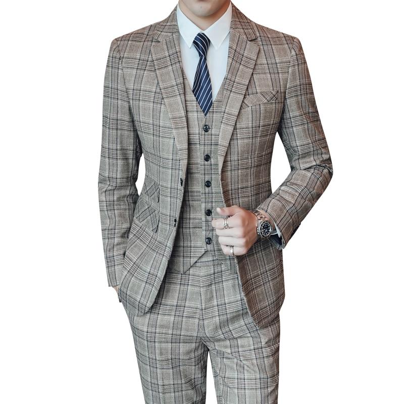 Wedding Suit For Men 2019 Slim Fit Gentlemen Costume Plus Size S-5XL Plaid Designer Male Groomsmen Formal Business Casual Suits