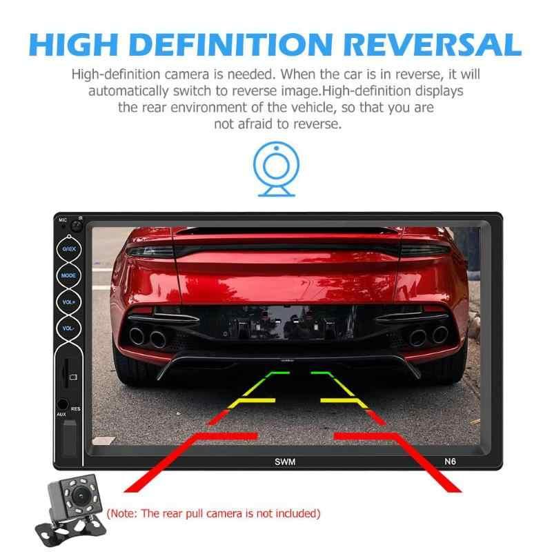 SWM Mobil Stereo 2 DIN Bluetooth USB AUX Radio Receiver Layar Sentuh 7 Inci MP5 Pemain UI Desain dengan Membalikkan gambar Kepala Unit
