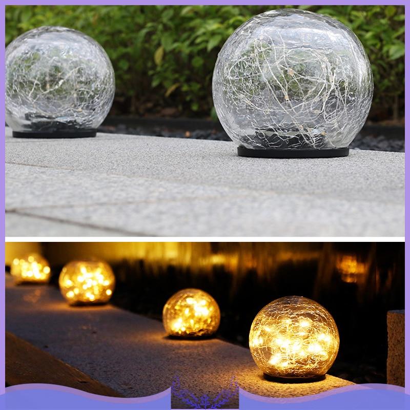Glass Ball LED Solar Light Under Ground Lamp Wireless Crackle Glass Light Warm White Night Lamp Garden Modern Glass Decor Craft