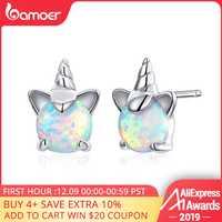 Bamoer Genuine 925 Sterling Silver White Opal Licorne Animale Orecchini con perno per Le Donne Ipoallergenico Orecchini per I Bambini SCE737