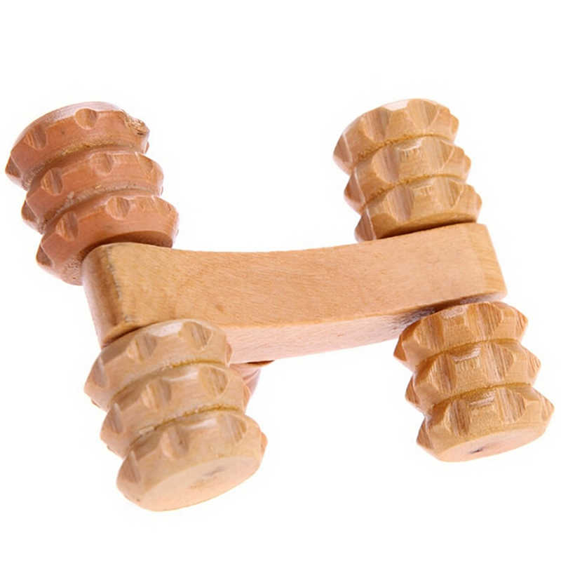 Massief Houten Full-Body Vier Wielen Houten Auto Roller Ontspannen Hand Massage Tool Reflexologie Gezicht Hand Voet Body Therapie
