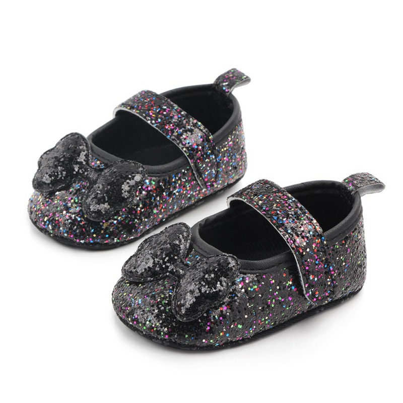 Hot Spring Autumn Baby Girl Lightweight First Walkers Kids Anti-Slip Casual Shoes Children Sequin Bow Design Sneakers Soft Soled