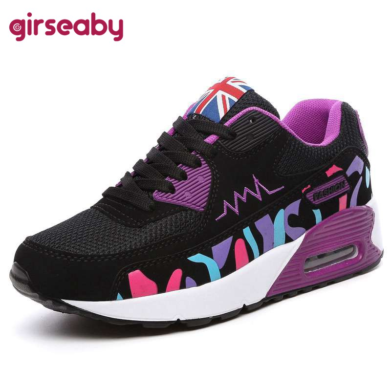 Girseaby Women Sneakers Shoes Wedge-Heels Platform Footwear New Casual Lace-Up Mixed-Color