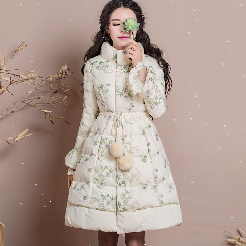 Winter   Coat   Women Warm Thicken Lace Embroidered   Down   Jacket Female Slim Elegant Vintage White Duck   Down     Coat   Women Long   Coats