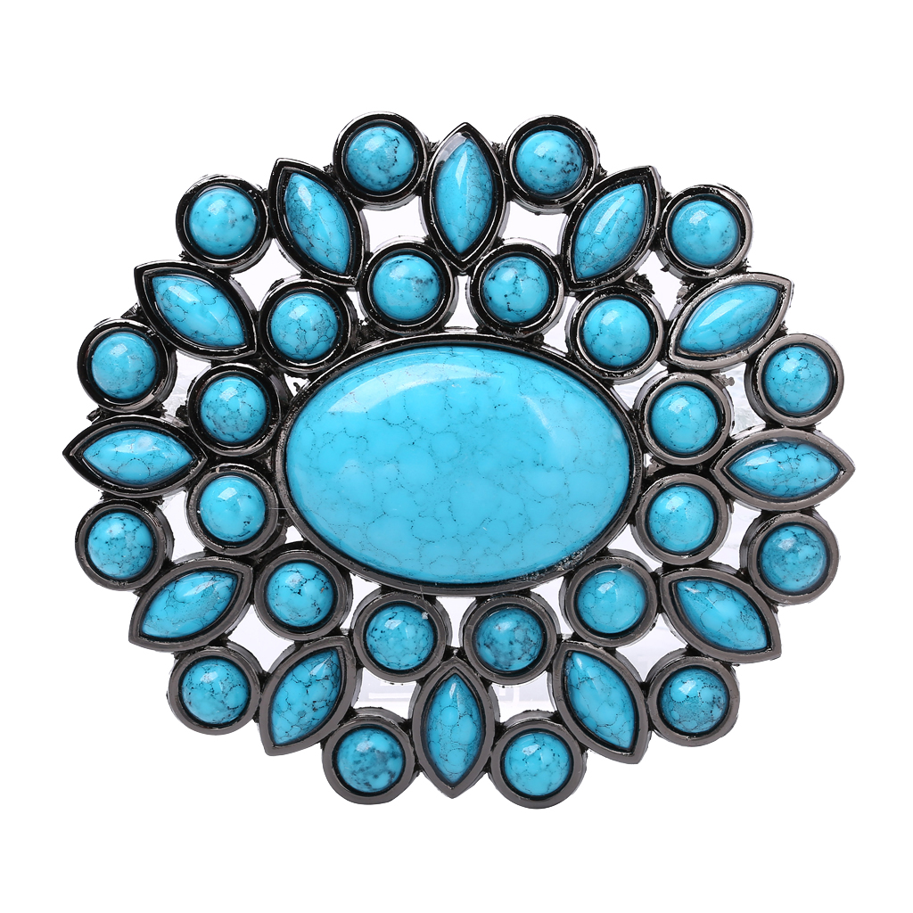 Turquoise Beaded Stone Bohemian Belt Buckle Werstern Indian Cowboy Cowgirl