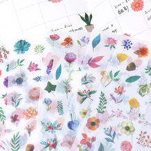 6 sheets/pack Kawaii Washi Decorative Stickers Label Scrapbooking Cute Whale Flower Girls Stationery Stickers DIY Diary Album
