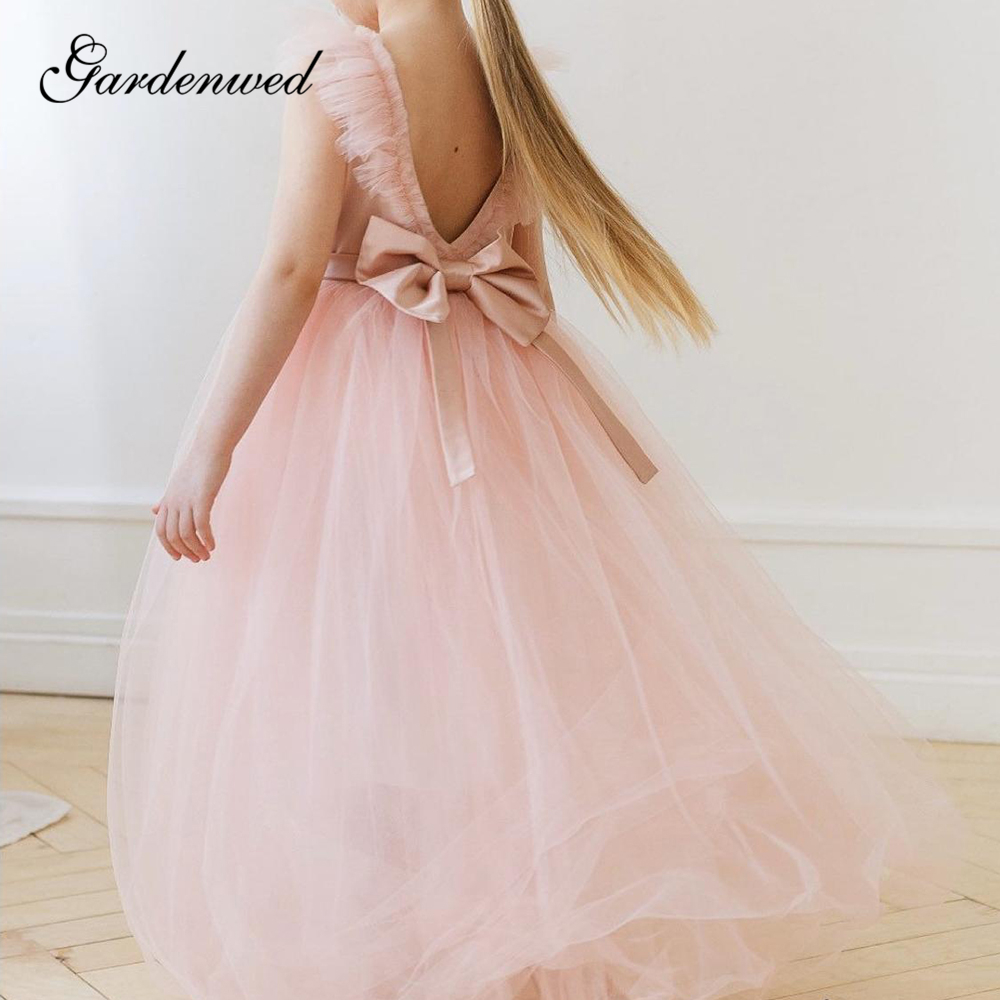 Pink Boho Flower Girl Dresses Backless Long Tulle First Communion Dresses Ruffles Bow Sashes Girls Beach Wedding Party Dresses