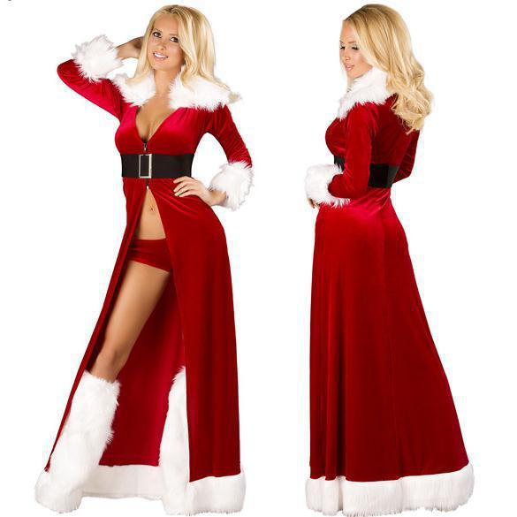Christmas Costume Dress Women 2019 New Split Dress White Velvet Fleece Shawls Deep V-neck Dress Femme Xmas Outfit