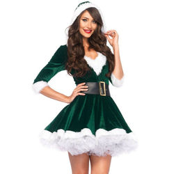 Fashion Women Half Sleeve Solid Popular Ladies Santa Claus Xmas Costume Cosplay Outfit Waistbelt Fancy Christmas Mini Dress 4