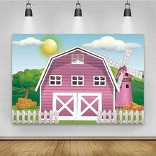 Laeacco Photography Backdrop Cartoon Rural Farm Baby Birthday Party Photocall Windmill Sky Fence Photo Background Photo Studio