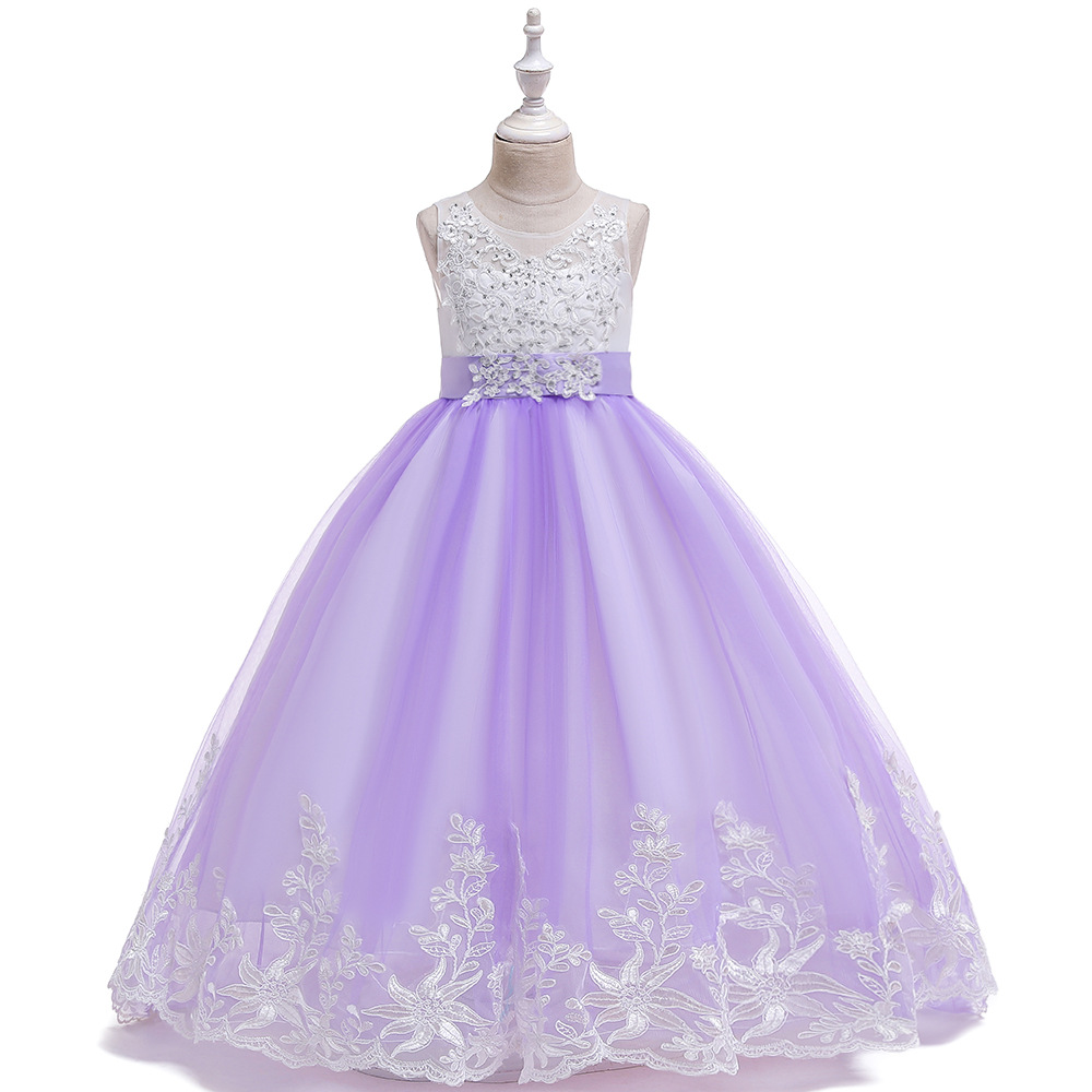 New Style Child Formal Dress Long Catwalks Lace Gauze CHILDREN'S Dress Princess Dress Children Dress