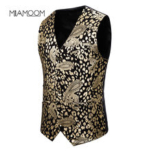 MIAMOOM Mens Suit Vest Waistcoat Slim Fashion Large Cashew Stamping Gold Printed Waistcoat Dress(China)