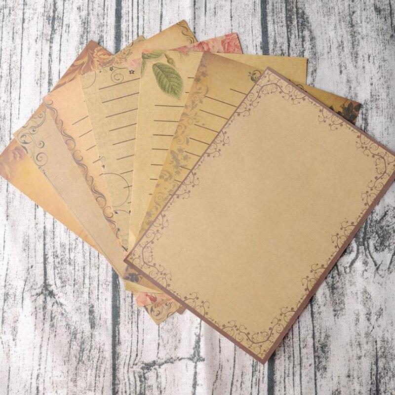 16 Pcs/set Vintage Kraft Brown Letters Paper Flower Design Letterhead Letter Writing Paper Letter Pad Drawing Sketch Stationery