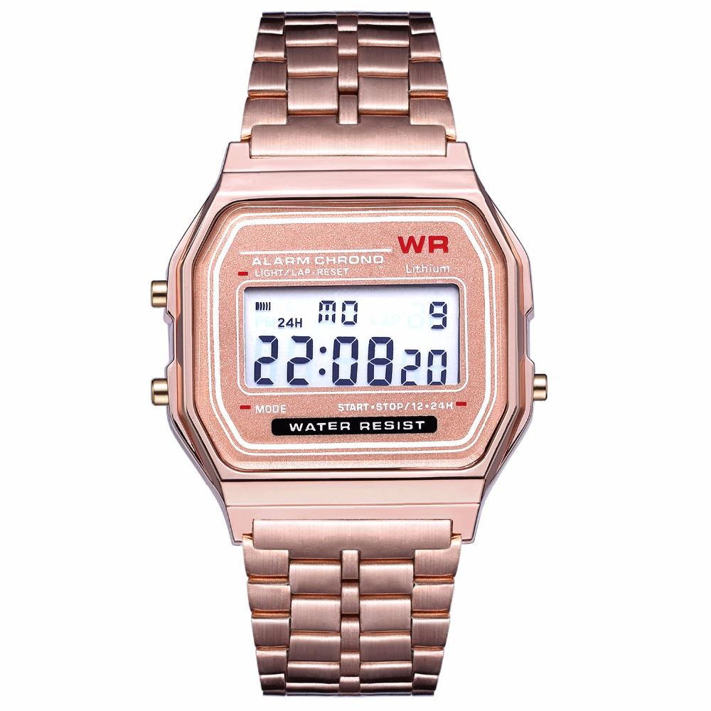 Women's Digital Watch Rose Gold Vintage Stainless Steel Watch For Women LED Sports Wristwatches Electronic Digital Watch Relojes