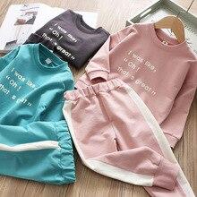 Весенние комплекты для мальчиков и девочек спортивная футболка с надписью и штаны для отдыха