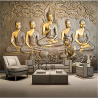 Custom Wall Paper 3D Embossed Golden Buddha Statue Gray Background Wall Mural Wallpapers for Living Room Home Decor 3D Wallpaper