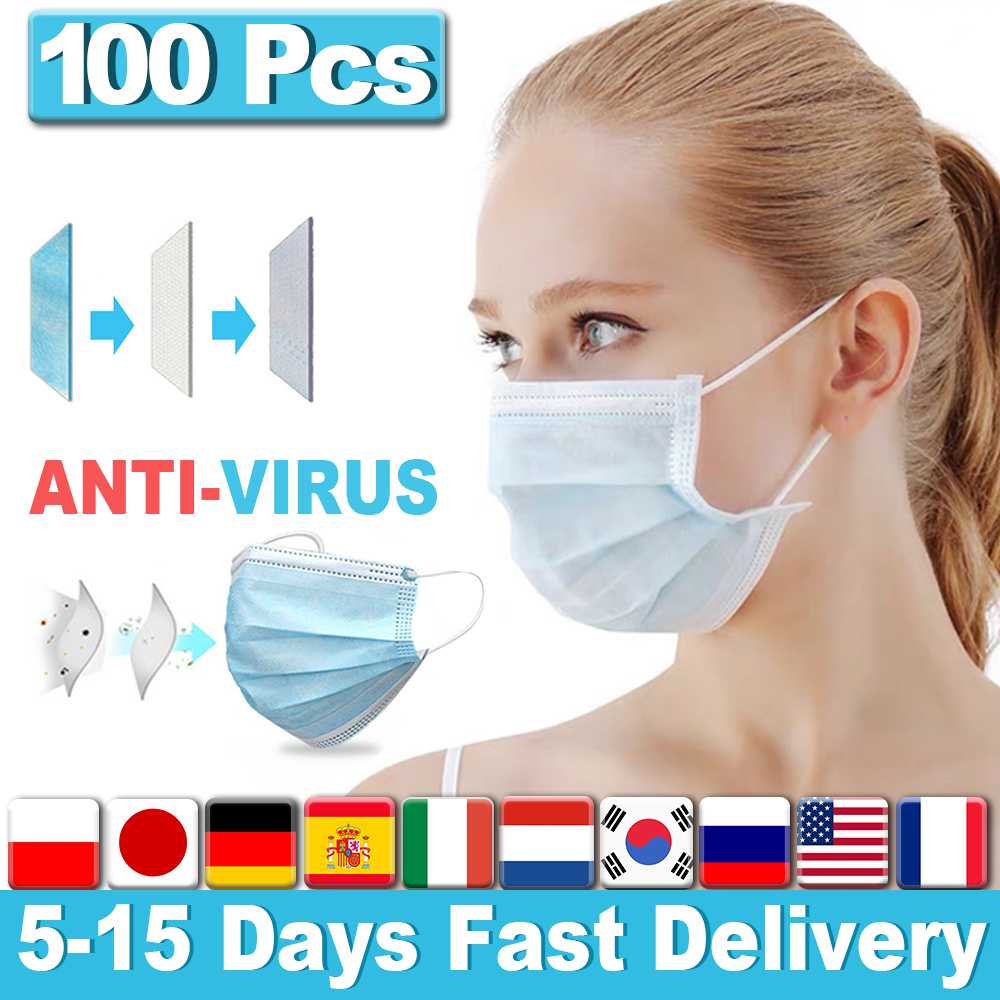 100Pcs Disposable Surgical Face Masks Anti Virus Mouth Face Mask Non Woven Protective 3 Layers Filter Earloops Masks