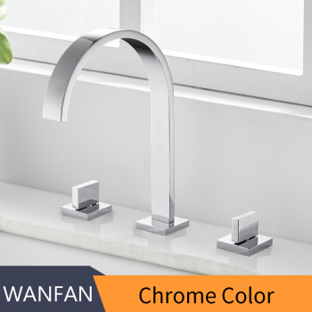 Basin Faucets Brass Polished Chrome Deck Mounted Square Bathroom Sink Faucets 3 Hole Double Handle Hot And Cold Water Tap LT-109 7