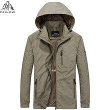 PEILOW chaqueta con capucha militar informal para hombre, abrigo cortavientos masculino, ropa impermeable, talla grande M ~ 6XL, primavera y otoño