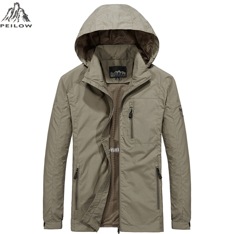 PEILOW New Plus Size M~6XL Spring Autumn Mens Casual Military Hoodie Jacket Men Waterproof Clothes Men's Windbreaker Coat Male